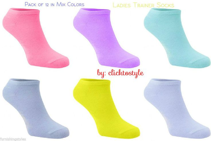 12 Pairs Women Trainer Liner Ankle Sports Socks Multi Colour Design Cotton Mix