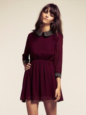 Dahlia Alexa Burgundy Studded Peter Pan Collar Dress  667b14e41