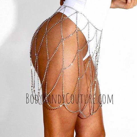 Rhinestone Chain Skirt bachlorette outfit body chain skirt #bodychainskirt #rhinestoneskirt #WeddingJewelry