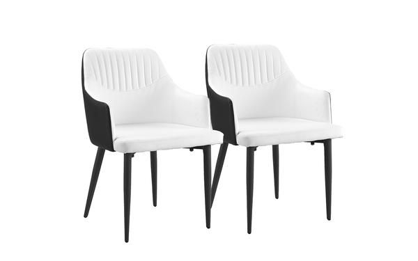 Cadence Set Of 2 Two Tone Modern Leather Dining Armchairs With