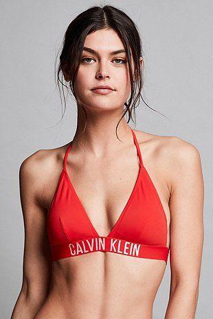 Calvin Klein Fiery Red Triangle Bikini Top - Urban Outfitters