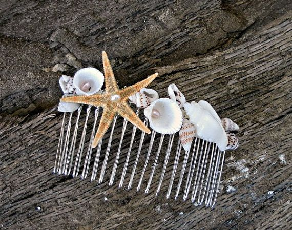 Beach Wedding Comb, Seashell Starfish Pearls, wedding accessory, bridal headpiece, Mermaid Hair Accessories, Beach jewelry on Etsy, $17.00