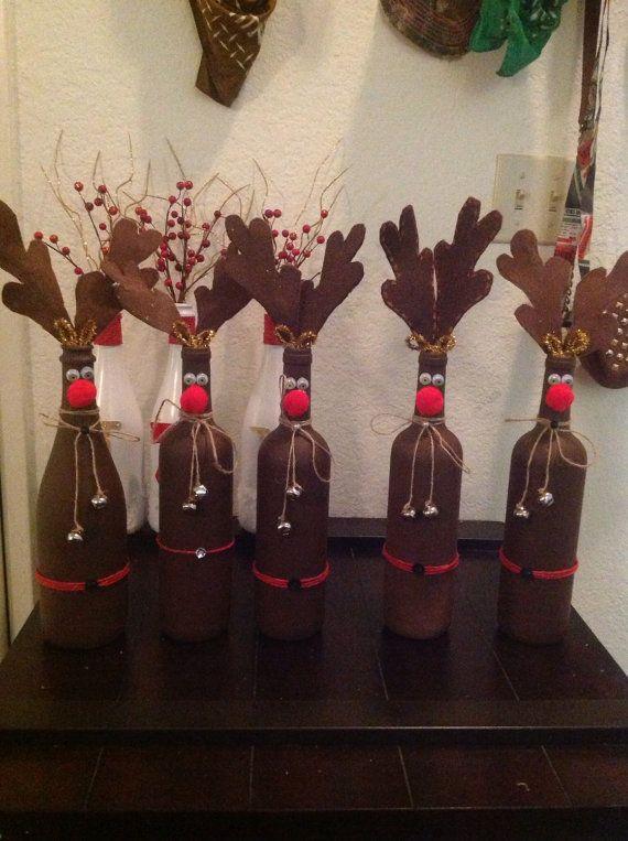 Quinten: Fles versieren als rendier met groen erin