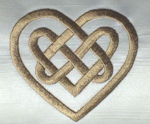 CELTIC KNOT Embroidered on a wedding cushion.