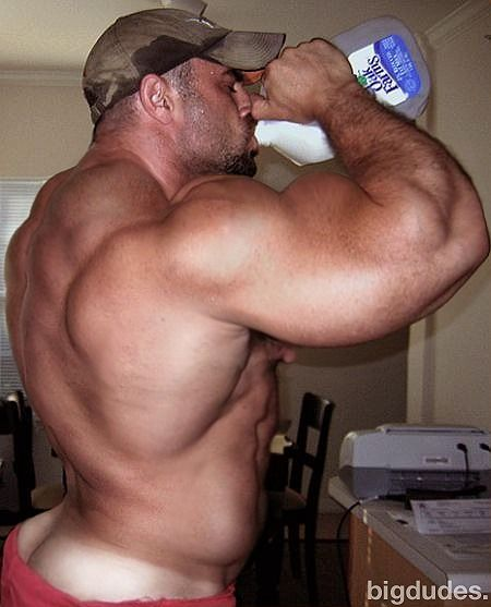 Muscular guy pours milk cums gay they took 4