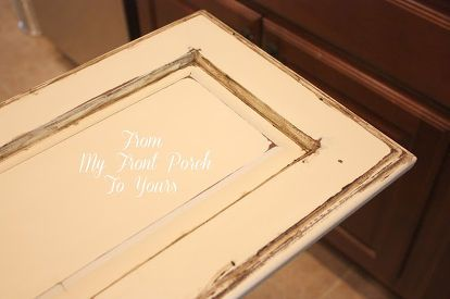 creating a french country kitchen cabinet finish using chalk paint, chalk paint, kitchen backsplash, kitchen cabinets, kitchen design, painting, I use a moist sanding block to sand with It keeps the dust at bay and makes a buttery smooth finish
