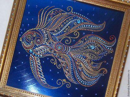 Животные ручной работы. Ярмарка Мастеров - ручная работа. Купить Роспись по стеклу  Золотая рыбка. Handmade. Украшение интерьера, золотой
