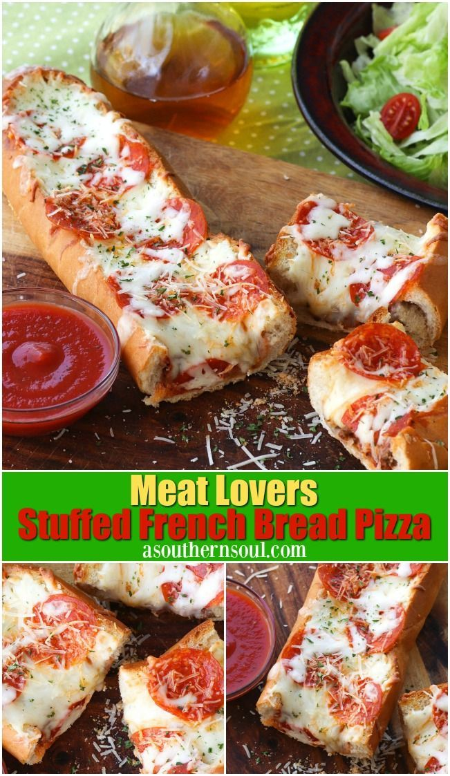 Meat Lovers Stuffed French Bread Pizza Is Easy To Make And Loaded With Traditional Pizza Flavor Seasoned Ground B French Bread Pizza Pizza Flavors Meat Lovers