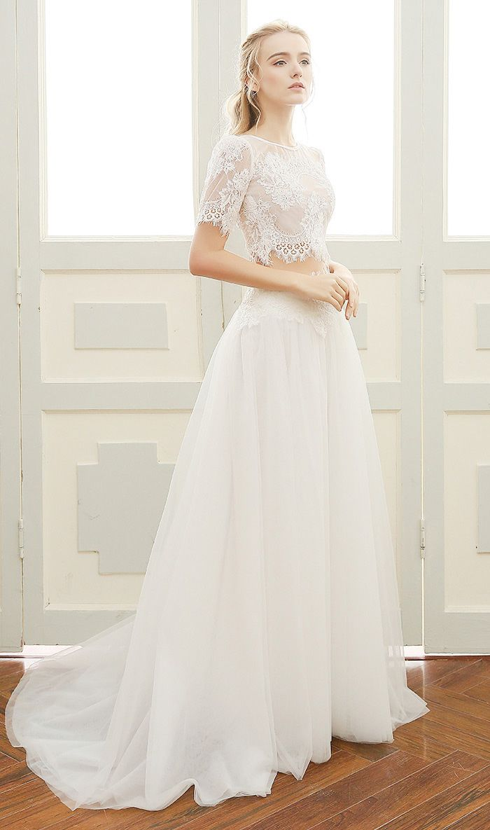 A Line Beach Wedding Dress Boho Sweetheart Floor Length Tulle Two Pieces With Lace Df12 169 Gemgrace