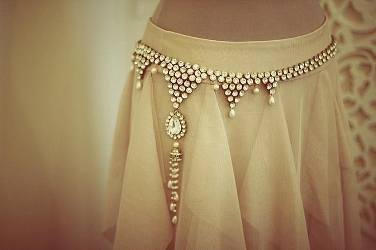 Crystal Sari belt with pearls