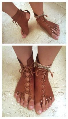 leather foot guards (interesting) To protect the soles of the feet, but allow the toes out to climb - pretty cool!