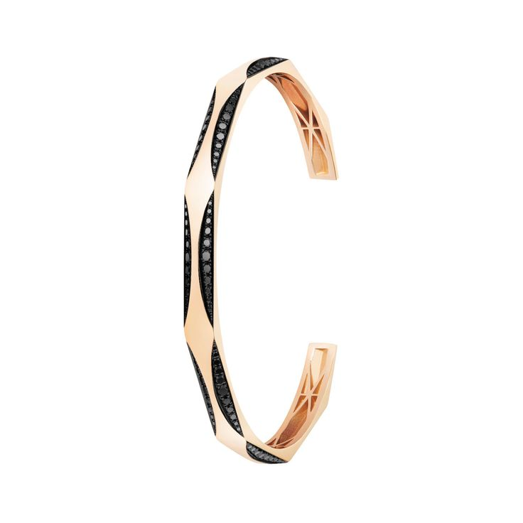 #MelissaKayeJewelry Joss #bracelet in #18k pink #gold with #diamonds #jewelry #finejewelry #pinkgold #blackdiamonds #fashion #style