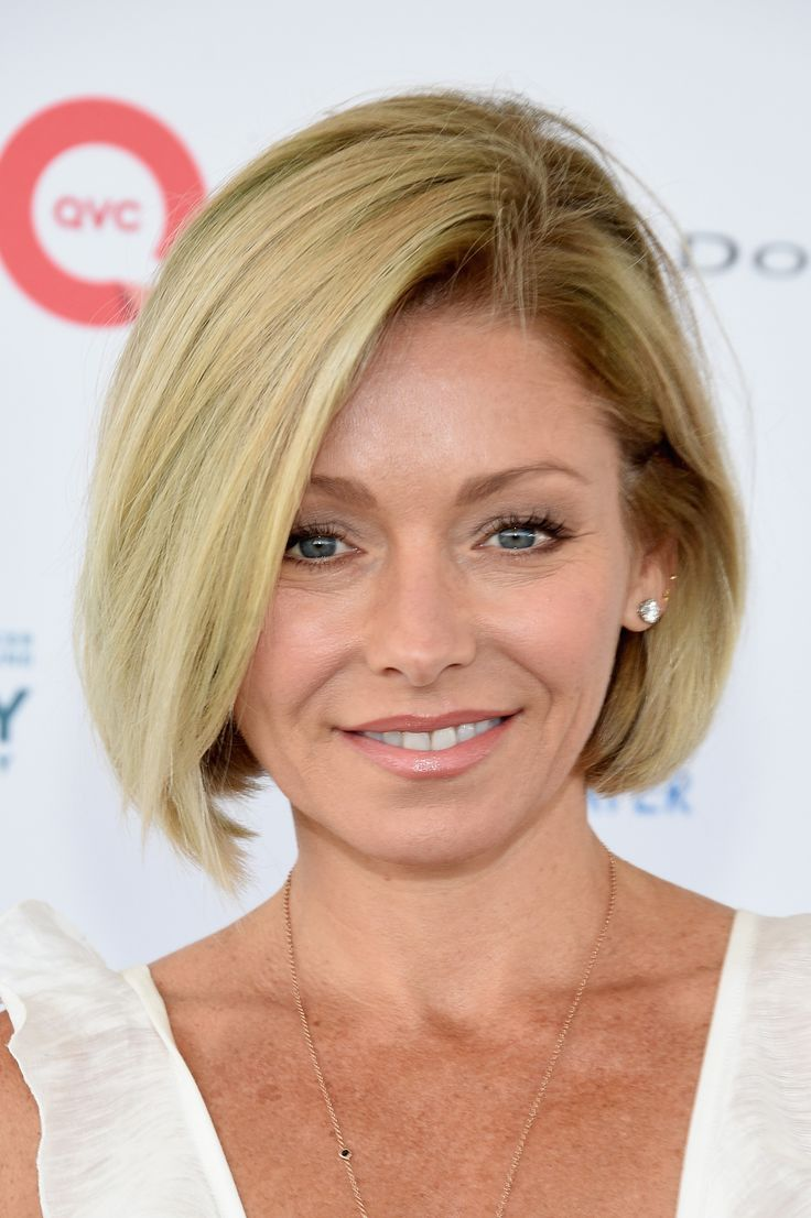 Kelly Ripa showed up to host the QVC Presents Super Saturday LIVE event with her natural shade of blonde. Even better: She opted for a soft below-the-chin bob to complement her new golden hue.  - GoodHousekeeping.com