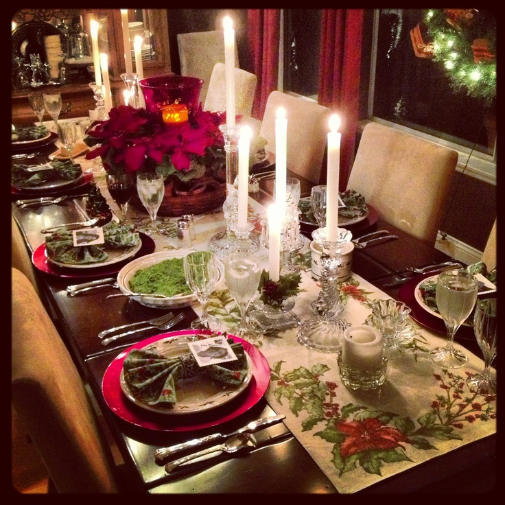 Christmas dinner table setting christmas pinterest dinner table dinner and tables - Christmas dinner decorations pictures ...