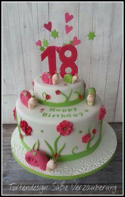 Torte zum 18. Geburtstag mit Schnecken- Bithday Cake with snail