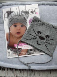 Bonnet bébé chat. Laine phildar 1semaine de tricot + broderie + montage Fait 01-15