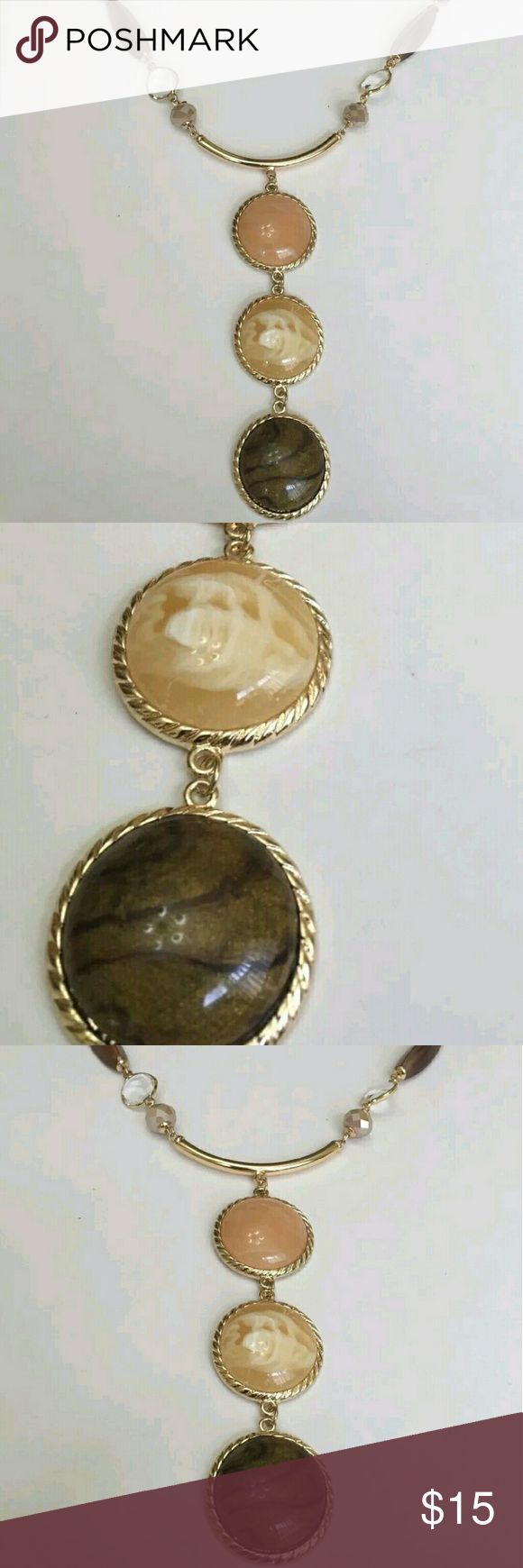 Macy's Inc 3 stone Necklace with tags INC Necklace $36 plus tax Gold Tone  New With Tags   Gold Tone Necklace with Brown, Salmon Colored and Ivory Stone   Measures 21 inches and can adjust up to 24  inches if needed  Same Day Shipping No trades or try ons INC International Concepts Jewelry Necklaces