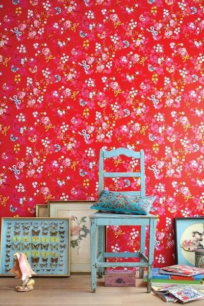 rood behang eijffinger schilder pip vlinder bloem
