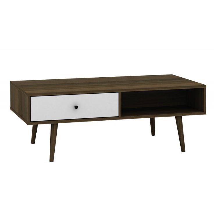 Coffee table Alida walnut-white 120x59x44 Ε7342