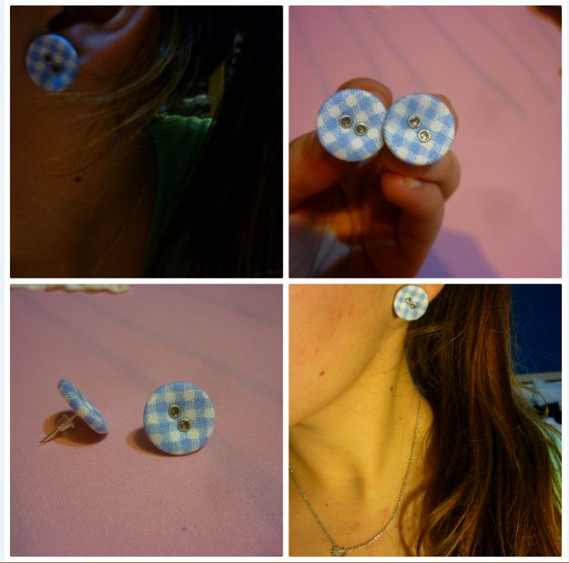 #checquered #button #earrings for my friend and classmate Anička:-) #DIY / #ctverecky #knofliky #nausnice #darek #vanocnidarek