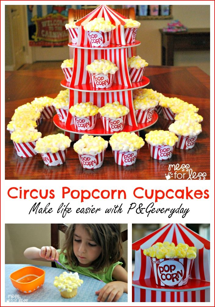 Circus Popcorn Cupcakes - Guests will think they are boxes of popcorn! Recipe and ideas to make life easier with  #PGeveryday #sponsored