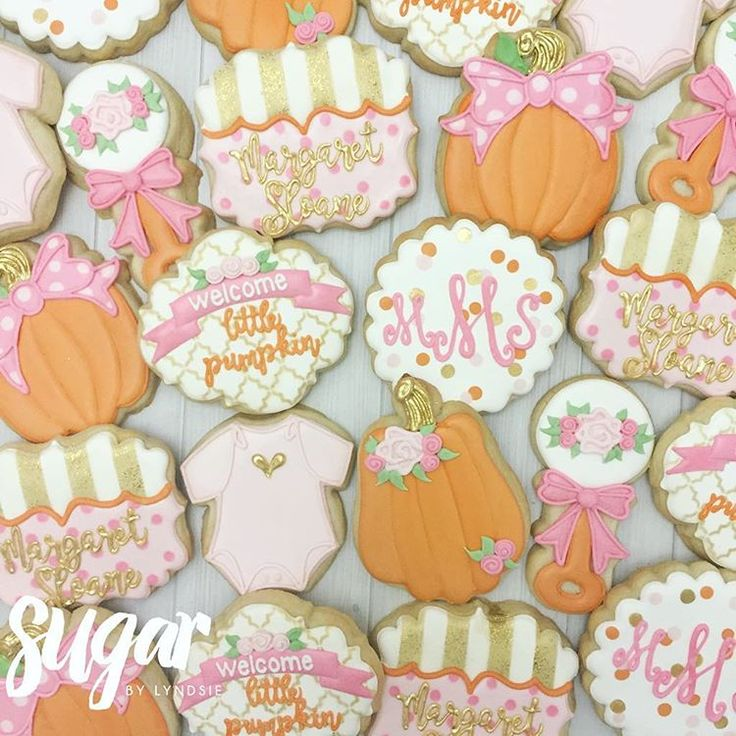 Little pumpkin baby shower decorated cookies