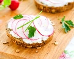 Toasts aux radis et fromage frais