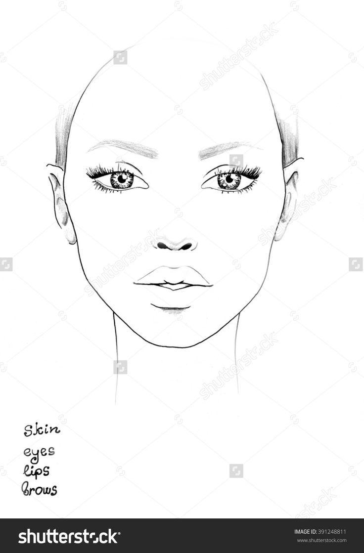 Face Chart Makeup Artist Blank Template Gesichtsschablone