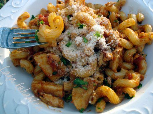 Cavatappi pasta with salmon crab surimi recipe - Foodista.com