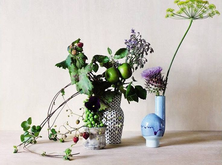 Matthias Kaiser's vases appeared in Le Monde, blue wayward on the right. great photo by Amber Rowlands and flower arrangement by fjura