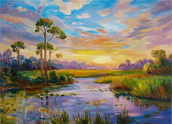 Beautiful oil paintings of landscapes painting for Oil painting scenery