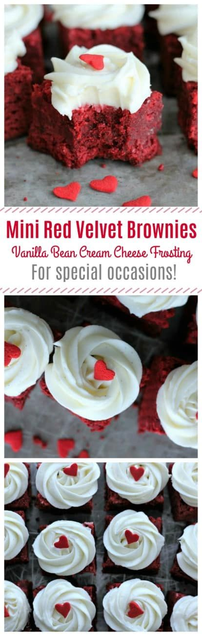 Mini Red Velvet Brownies with Vanilla Bean Cream Cheese Frosting - Rich, decadent red velvet brownies decked out with a lovely vanilla bean cream cheese frosting made are made with the best home-made love! These are a Valentine's Day sweet treat sure to get some attention!