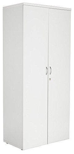 White High Office Cupboard, 1800mm High, Lockable Double…