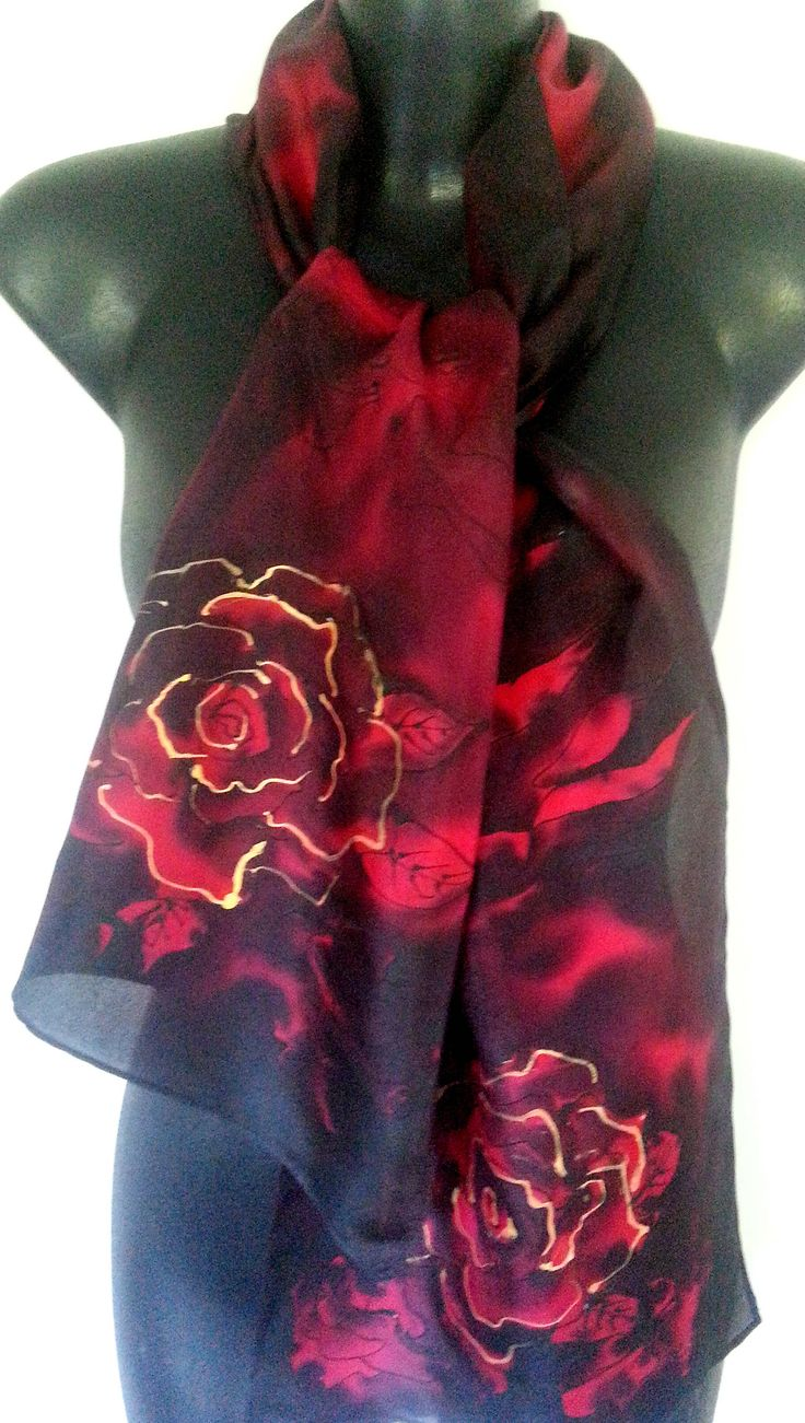 MidNight Rose Silk Scarf Hand Painted, Crimson and Black Rose flowers, 150x 29cm, New Zealand handmade, Black, Red, Gold highlights,  Gift, by KiwiSilks on Etsy