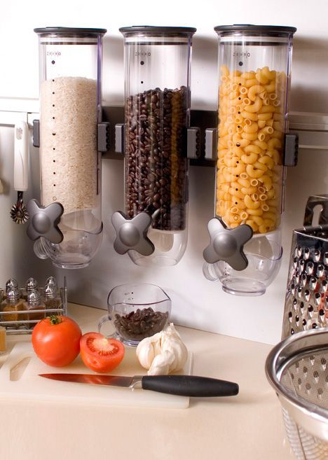 Wall mounted space saving dry foods trio dispenser #product_design #kitchen #organization