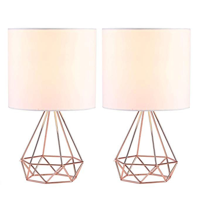 Co Z Modern Table Lamps For Living Room Bedroom Set Of 2 Rose Gold Desk Lamp With Hollowed Out Base And White Rose Gold Lamp Gold Table Lamp Rose Gold Bedroom