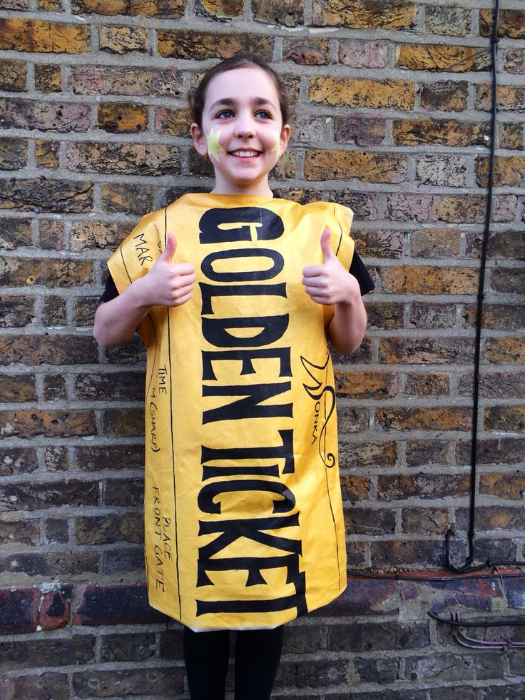 World Book Day. Roald Dahl. Charlie and the Chocolate factory. Golden Ticket. Pillowcase costume.
