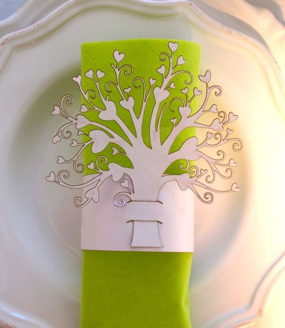 Wedding napkin ring hart boom