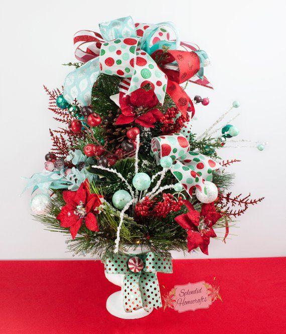 Light up Retro Christmas Tree, Retro Christmas Topiary, Whimsical