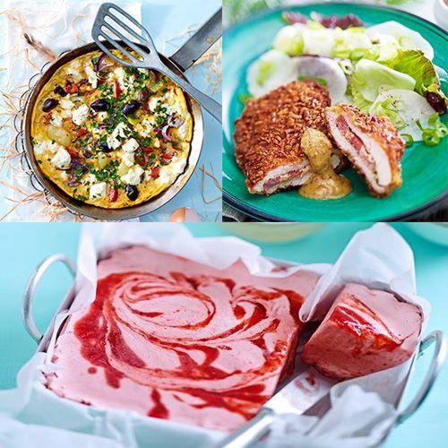 Nos idées recettes du week-end : Omelette à la grecque  Suprêmes de poulet aux cacahuètes  Crème glacée fraises mascarpone