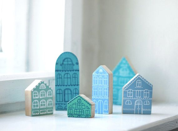 SET of 6 pcs - Hand painted wooden village, miniature village, hand painted house, wood block, little wooden house, decorative house
