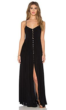 Uma Pleat & Button Maxi Dress in Black