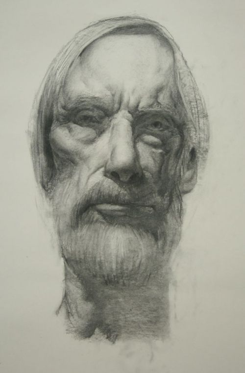 Charcoal Portrait Drawing Old Man diagram image