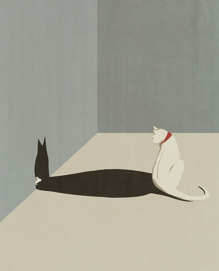 Self-taught Italian illustrator Andrea Ucini draws scenes which reveal hidden plot lines, adding a conceptual twist to his minimalistic imagery. Within Ucini's illustrations one can sneak a peek behind the veil of a shadow or streetlamp, uncovering another world or just a curious rodent. In addition
