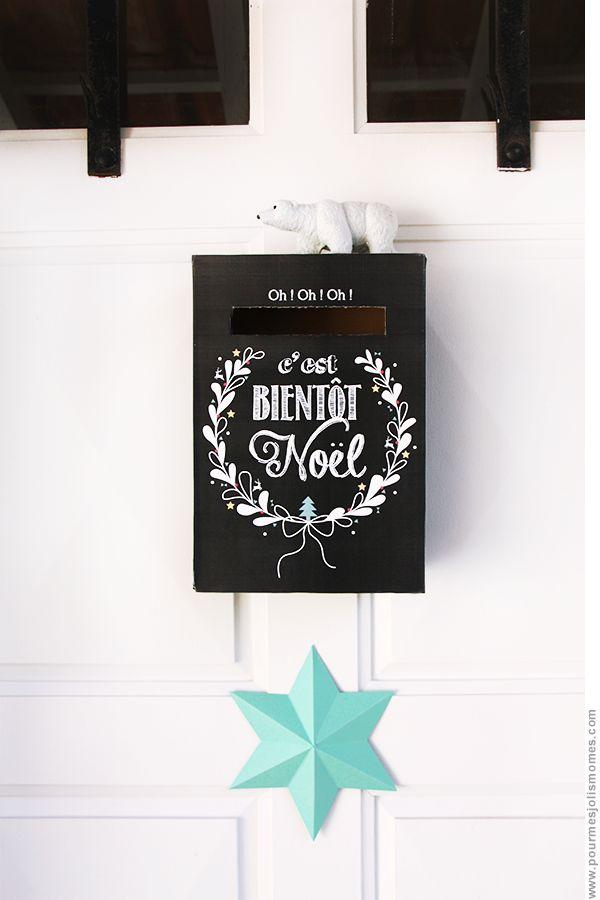 Une boîte aux lettres où glisser chaque jour avant Noël une enveloppe avec une petite surprise (pratique pour ne pas avoir à tout préparer à l'avance !) - pdf à télécharger
