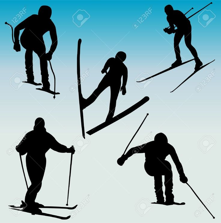 Silhouettes Of Skiers Royalty Free Cliparts, Vectors, And Stock ...