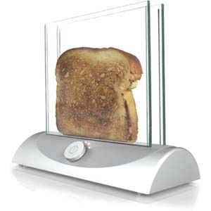 Transparent toaster allows you to see the bread while it is toasting so you just have to take it out when the colour is right.