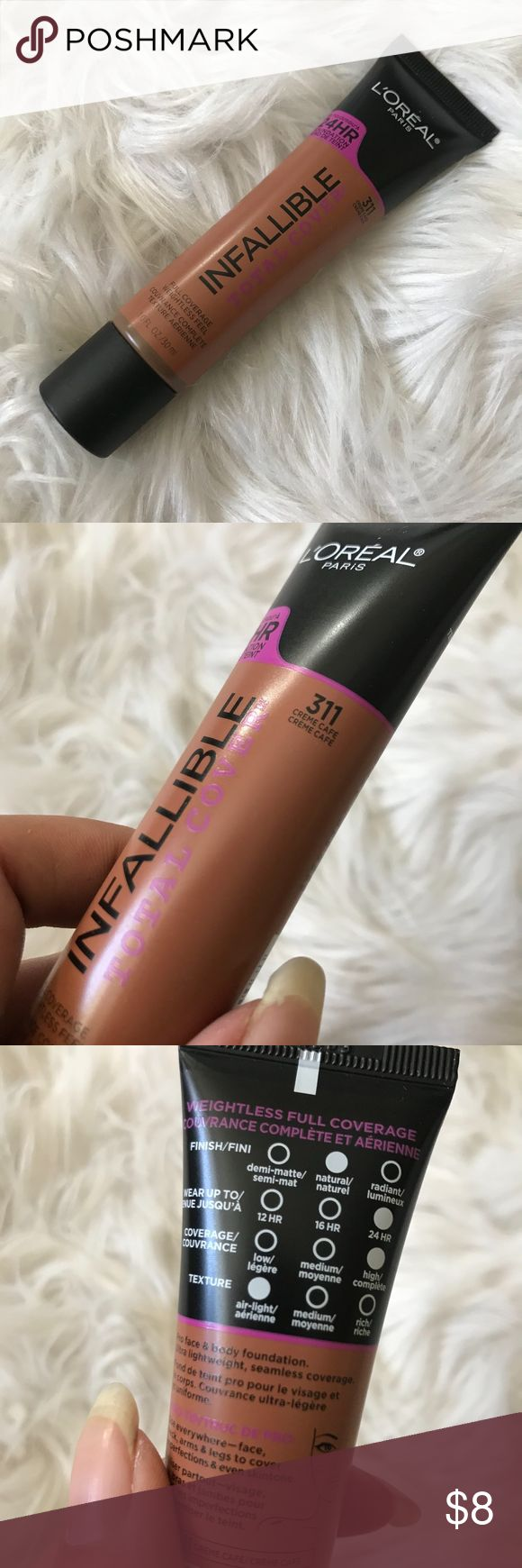 NEW L'ORÉAL Infallible Total Cover Foundation Brand new L'ORÉAL Infallible Total Cover Foundation in shade 311 Creme Cafe. Seal still on! L'Oreal Makeup Foundation