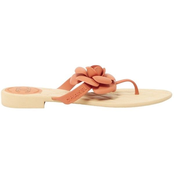 Pre-owned Chanel Flip Flops ($315) ❤ liked on Polyvore featuring shoes, sandals, flip flops, orange, women shoes sandals, orange shoes, orange flip flops, orange sandals, chanel flip flops and chanel footwear