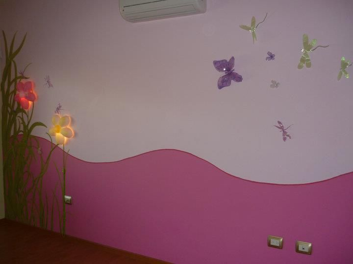 Dise o para rec mara de ni a con detalles flores como for Mural de flores y mariposas
